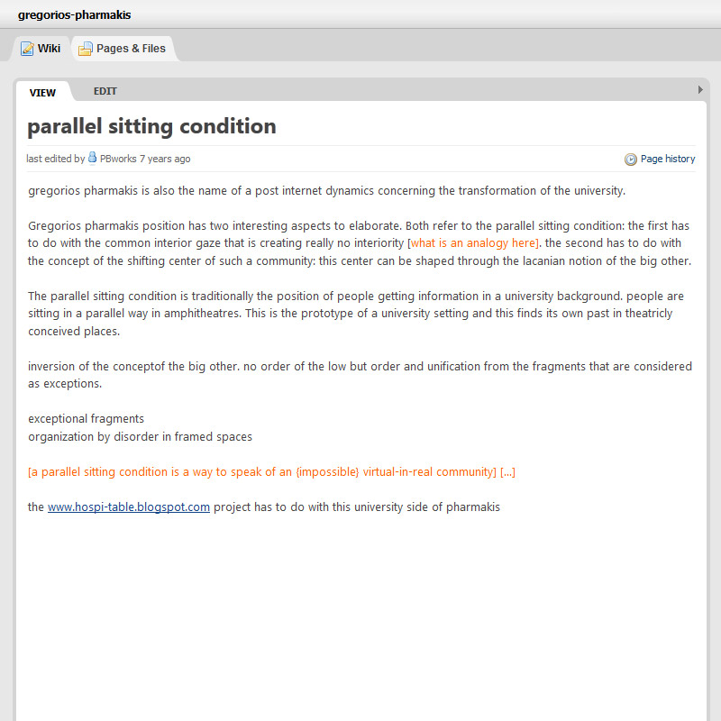 parallel sitting condition